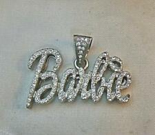 "Barbie Pendant Silvery with Crystals 2"" x 1"""