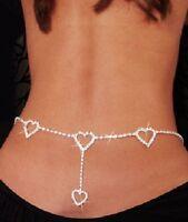 Ladies sparkling diamante rhinestone loveheart drop belt jewellery  -20% off