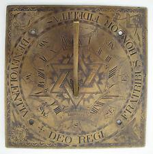 1736 British Bronze Freemason Solomon Seal David Star Sundial Thomas Betts !
