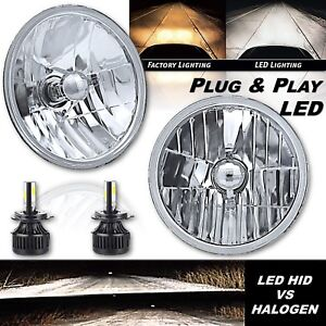 "7"" Crystal Glass Lens/Metal Headlight 6v LED 26/40w H4 Light Bulb Headlamp Pair"