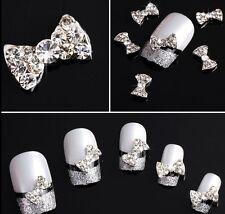 3D Clear Rhinestone Nail Art Bows