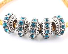 5pcs Tibetan silver CZ big hole spacer beads fit Charm European Bracelet #C506