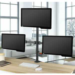 """Triple Monitor Mount for 13-32"""" Screens Three Arm Desk Mount Bracket with Clamp"""
