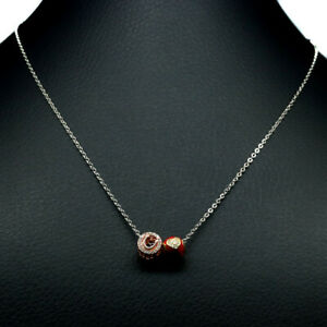 """AAA CUBIC ZIRCONIA ENAMEL PAINTING TWO TONE PENDANT - NECKLACE 19"""" 925 SILVER"""