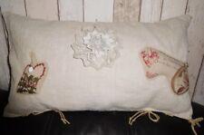 *Deko-Traeume* 1 romantisches Kissen Weihnacht antikes Leinen 3W