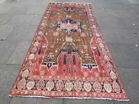 Vintage Hand Made Traditional Rug Oriental Wool Brown Red Large Rug 324x144cm