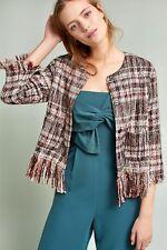 NWT Anthroologie Ett Twa tan pink wine black met Textured Tweed Fringed Jacket L