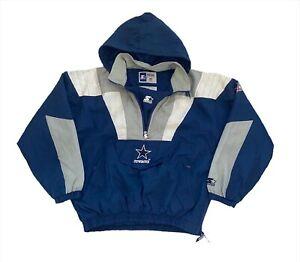 Vintage 90's Dallas Cowboys 1/4 Zip Hooded Starter Jacket - Large