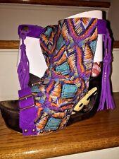 IRREGULAR CHOICE Hippy Tassel PEACE & LOVE Women Wedges High Heels Shoes SZ 9.5
