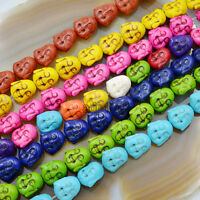 "10mm Dyed Howlite Carved Skull Shaped Beads 15/"" Strands USA 38pcs"