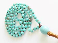 Amazonite Crystal Mala 108 Prayer Beads Necklace & Faceted Pendant & Tassel