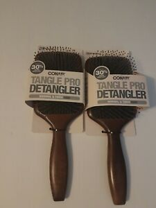 Lot Of 2 Conair Tangle Pro Detangler Wood Paddle Hair Brush Normal & Thick