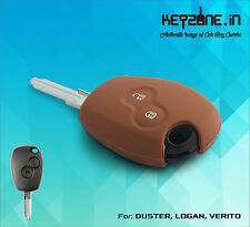 Silicone Car Key Cover fit for Renault Duster/Logan/Verito/Lodgy (Cognac)