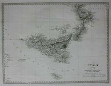 ITALY III, SICILY, original antique map, SDUK, 1844