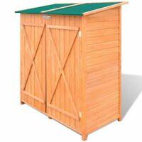 vidaXL Outdoor Wooden Storage Shed w/ Stool Backyard Garden Tool Organizer
