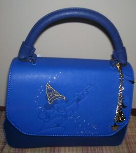 Loungefly Disney Fantasia Sorcerer Mickey Blue Purse Hand Bag Heart Logo Satchel