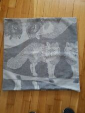Williams Sonoma Home Camdyn 100% Cashmere Jacquard Pillow Cover Grey wolf wolves