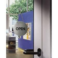 Schild Piktogramm Wendepiktogramm Open/Closed mit Kette Ø130mm, Edelstahl