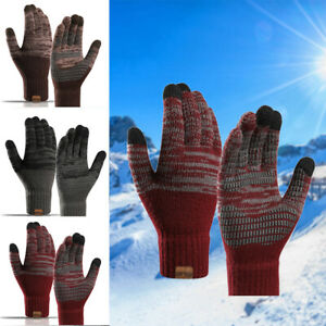 Women Men Winter Knitted Warm Full Finger Smart Touch Screen Gloves Mittens