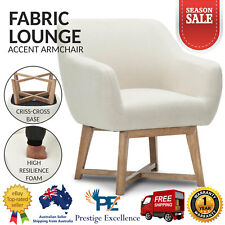 Modern Tub Chair Fabric Sofa Couch Armchair Solid Rubber Wood Lounge Room Beige