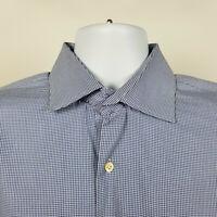 Peter Millar Nanoluxe Easycare Mens Blue Houndstooth Dress Shirt XL / 17.5/Long