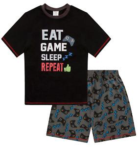 Boys  Eat Sleep Game Repeat Controller Short Pyjamas 8 to 15 Years AOP W17