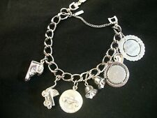 Vintage Monet Silver Tone Charm Bracelet With Charms! Beautiful