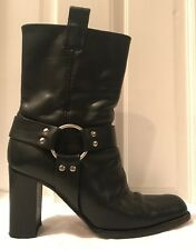 Michael Kors Westbury Black Leather Calf High Heeled Biker Style Boots Size 9