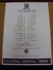 18/11/2008 Hull City Reserves v Manchester United Reserves  (single sheet). Than