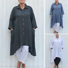 Plus Size Lagenlook Heavy Linen Shirt Dress 60 inch bust 16-30/32 L XL XXL 9445