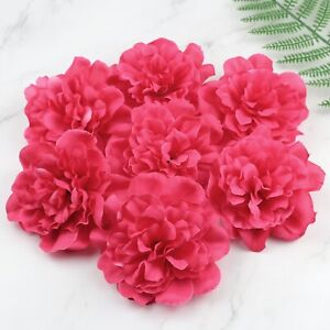 20-100Pcs 4'' Artificial Silk Fake Peony Flowers Rose Red Large Flower Head
