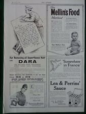 1915 MILITARY ADVERTS LEA & PERRINS' WRIGHT'S COAL TAR SOAP STORMPROOFS WW1 WWI