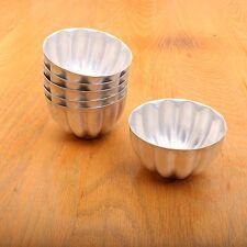 "6 Vintage Metal Aluminum Jello Molds or Mini Tins Stackable 3 1/2"" x 2"""