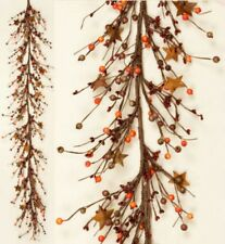 """Country`Primitive Fall Mixed Piperry Garland`with Rusty Stars` ` 58"""" Long"""