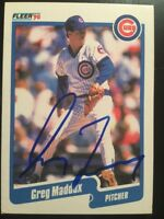 Greg Maddux Signed Autographed Card 1990 Fleer Chicago Cubs Braves HOF Auto
