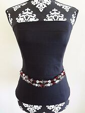 WHITE HOUSE BLACK MARKET Red Beaded Chain Belt Silvertone XS/S (0-6) $68 NWT