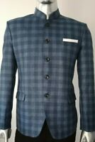 MEN'S WOOL CHECKED BEATLES MANDARIN NEHRU GRAND DAD COLLAR BLAZER JACKET