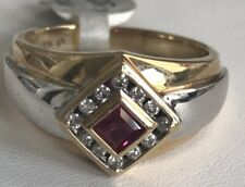10k Two Tone Mens Diamond/ Ruby Wedding/ Coctail Ring 8.9 Grams Size 10 3/4