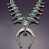 Signed Vintage NAVAJO Sterling Silver & Turquoise SQUASH BLOSSOM Necklace 207g