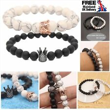 King Queen Crown Couple Bracelets His And Her Friendship 8mm Beads Bracelet Gift