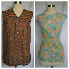 Lot Of 2 Vintage Multi Color Sewing Smocks Size S/M?