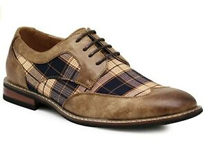 New  Men's Spectator Tweed Plaid Two Tone Wingtips Oxfords Perforated Lace Dress