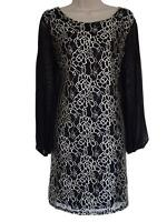 EMILY STUNNING BLACK/GOLD LACE/CHIFFON SLEEVE DRESS - PLUS SIZES 16 - 26