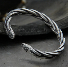 925 SOLID STERLING SILVER HEAVY THICK TWIST ROPE VIKING WARRIOR OPEN BANGLE