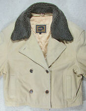 Large L Women's FOX RUN Winter Warm Tan leather Coat Jacket Sherpa Lined Collar