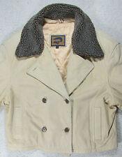 Large L Women's FOX RUN Winter Warm Tan leather Coat Jacket Sherpa Lined Collar