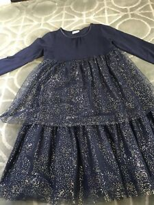 Girls HANNA ANDERSSON Blue Dress w/ Gold DOTS - Sz 140 or 10 - Holiday