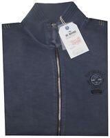 MAGLIA FELPA UOMO M L XL XXL 3XL giacca zip blu tinta in capo  cotone Be Board