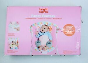 Bright Starts Vibrating Bouncer Seat with Toy Bar -  Pink Unicorn Fancy Fantasy