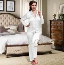 Nine X Womens Plus Size Lingerie S-6xl Satin Pyjamas Long Sleeve Nightwear Pj's 14 White